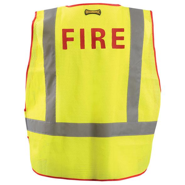 Occunomix Class 2 Hi Vis Yellow Fire Public Safety DOR Mesh Vest LUX-PSF-DOR Back