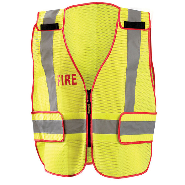 Occunomix Class 2 Hi Vis Yellow Fire Public Safety DOR Mesh Vest LUX-PSF-DOR Front
