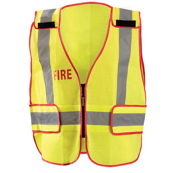 Occunomix Class 2 Hi Vis Yellow Fire Public Safety DOR Mesh Vest LUX-PSF-DOR Front