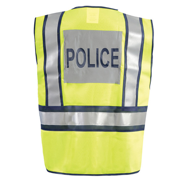 Occunomix Class 2 Hi Vis Yellow Pre Printed Police Public Safety Vest LUX-PSP Back