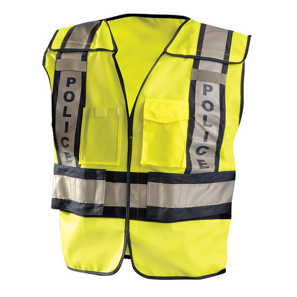 Occunomix Class 2 Hi Vis Yellow Pre Printed Police Public Safety Vest LUX-PSP Front