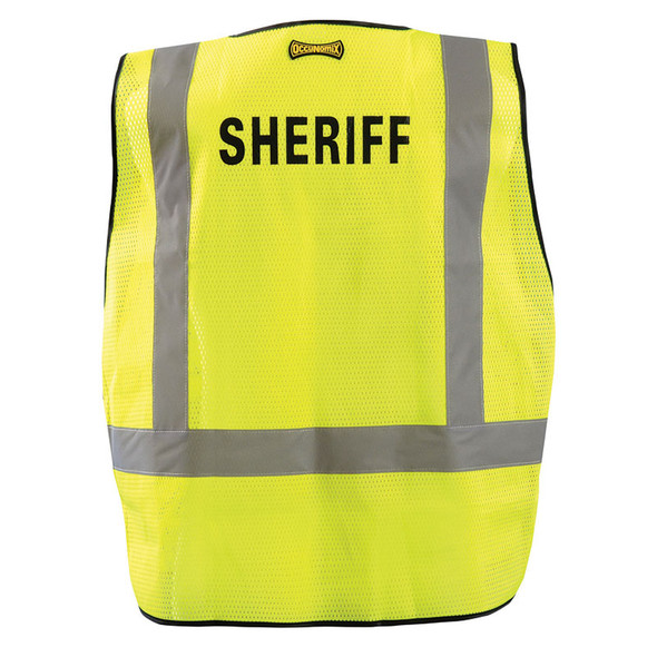 Occunomix Class 2 Hi Vis Yellow Sheriff Public Safety DOR Mesh Vest LUX-PSS-DOR Back