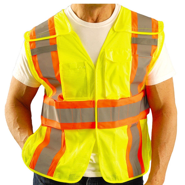 Occunomix Class 2 Hi Vis Yellow Adjustable Safety Vest LUX-SC2TB Front Close Up
