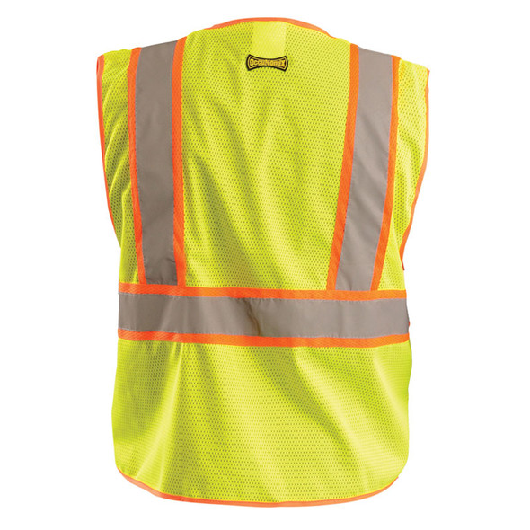 Occunomix Class 2 Hi Vis Yellow Zipper Front Economy Mesh Safety Vest LUX-SSCLC2Z Back