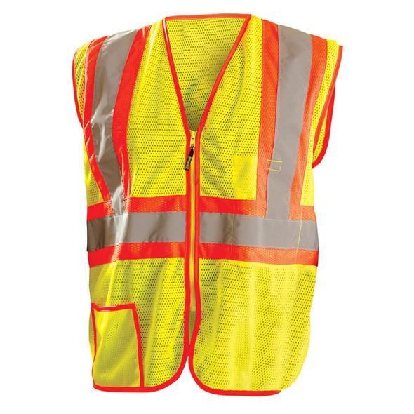 Occunomix Class 2 Hi Vis Yellow Zipper Front Economy Mesh Safety Vest LUX-SSCLC2Z Front