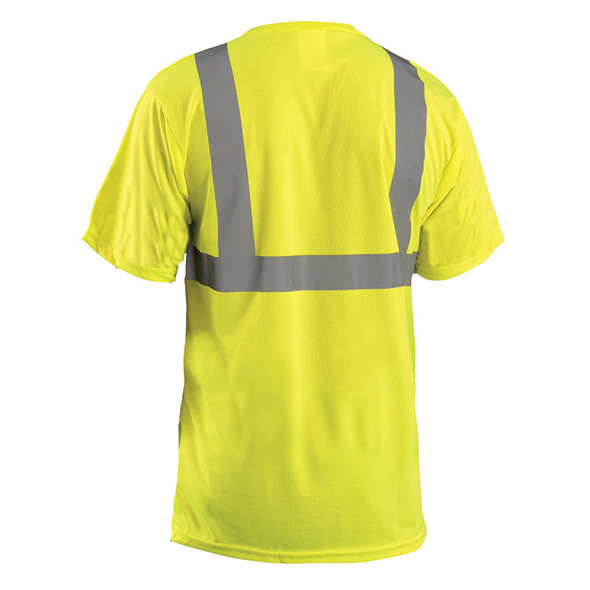 Occunomix Class 2 Hi Vis Moisture Wicking Birdseye T-Shirt with Pocket LUX-SSETP2B Yellow Back