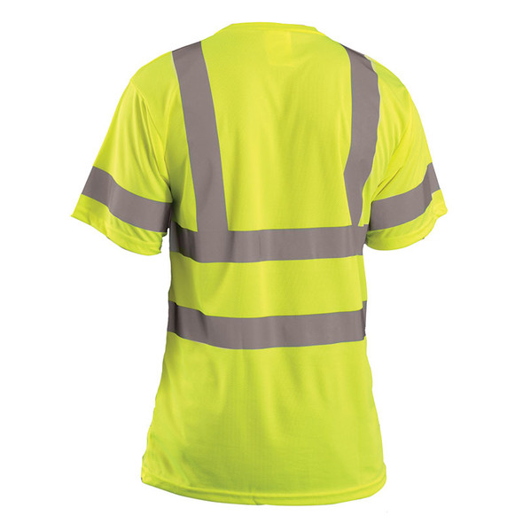 Occunomix Class 3 Hi Vis T-Shirt Moisture Wicking Birdseye with Pocket LUX-SSETP3B Yellow Back