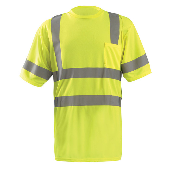 Occunomix Class 3 Hi Vis T-Shirt Moisture Wicking Birdseye with Pocket LUX-SSETP3B Yellow Front