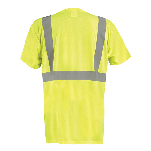 Occunomix Class 2 Hi Vis Black Bottom Moisture Wicking T-Shirt with Pocket LUX-SSETPBK Yellow Back