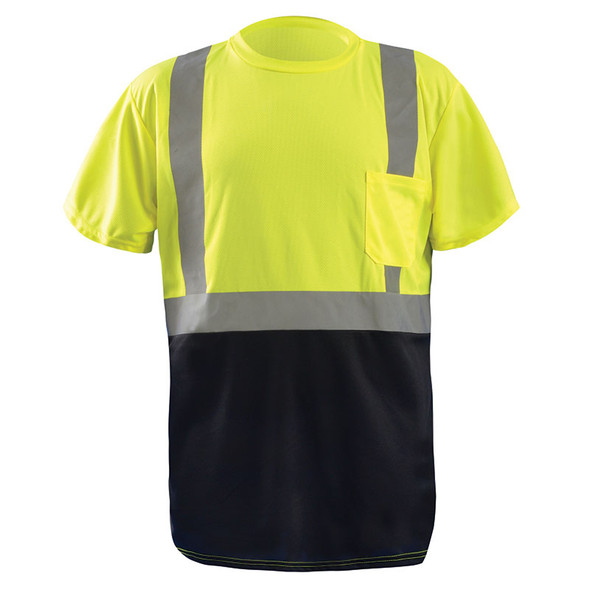 Occunomix Class 2 Hi Vis Black Bottom Moisture Wicking T-Shirt with Pocket LUX-SSETPBK Yellow Front