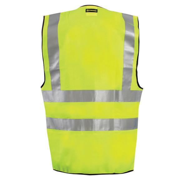 Occunomix Class 2 Hi Vis 12 Pocket Solid Polyester Surveyors Vest LUX-SSFS Yellow Back