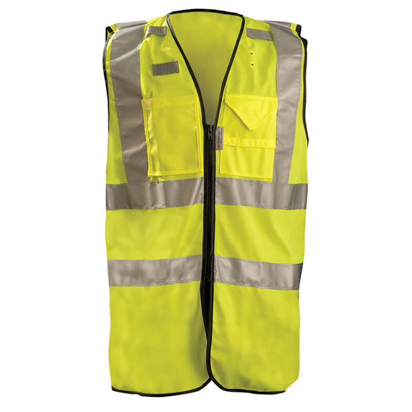 Occunomix Class 2 Hi Vis Yellow Surveyor Vest with ID Pocket LUX-SSFULLZ Front