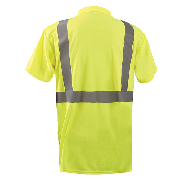 Occunomix Class 2 Hi Vis Moisture Wicking Short Sleeve Polo Shirt LUX-SSPP2B Yellow Back