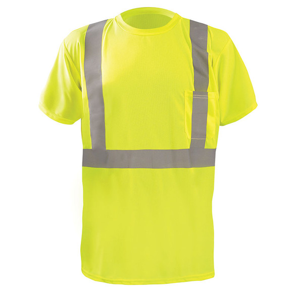 Occunomix Class 2 Hi Vis Moisture Wicking X Back Short Sleeve T-Shirt LUX-SSTP2BX Yellow Front