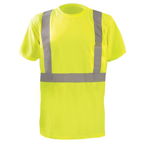 Occunomix Class 2 Hi Vis Moisture Wicking X Back Short Sleeve T-Shirt LUX-SSTP2BX Yellow Front