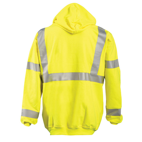 Occunomix FR Class 3 Hi Vis Yellow Hooded Sweatshirt LUX-SWT3FR Back