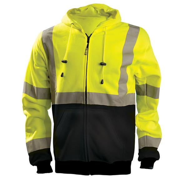 Occunomix Class 3 Hi Vis Black Bottom Zip-Up Hoodie LUX-SWTHZBK Yellow Front