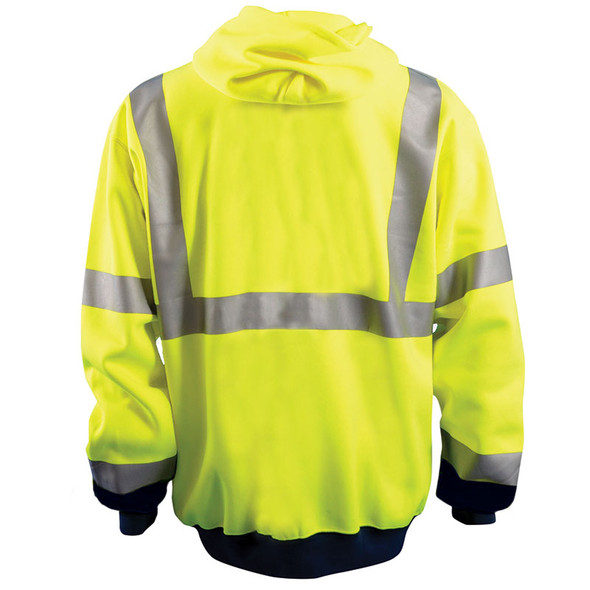 Occunomix Class 3 Hi Vis Black Bottom Zip-Up Hoodie LUX-SWTHZBK Yellow Back
