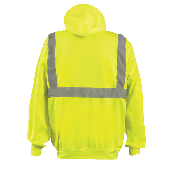 Occunomix Class 2 Hi Vis Yellow Zip Up Hooded Sweatshirt LUX-SWTLHZ Back