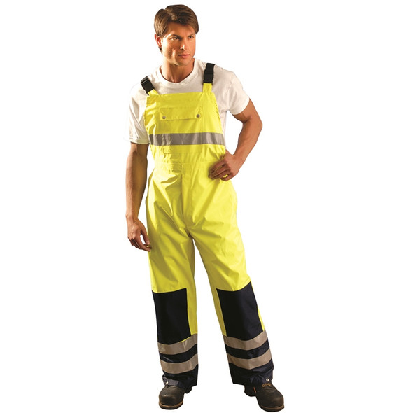 Occunomix Class E Hi Vis Yellow Breathable Waterproof Bib Pants LUX-TENBIB In Use