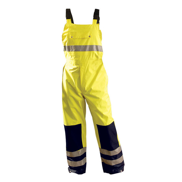 Occunomix Class E Hi Vis Yellow Breathable Waterproof Bib Pants LUX-TENBIB Front