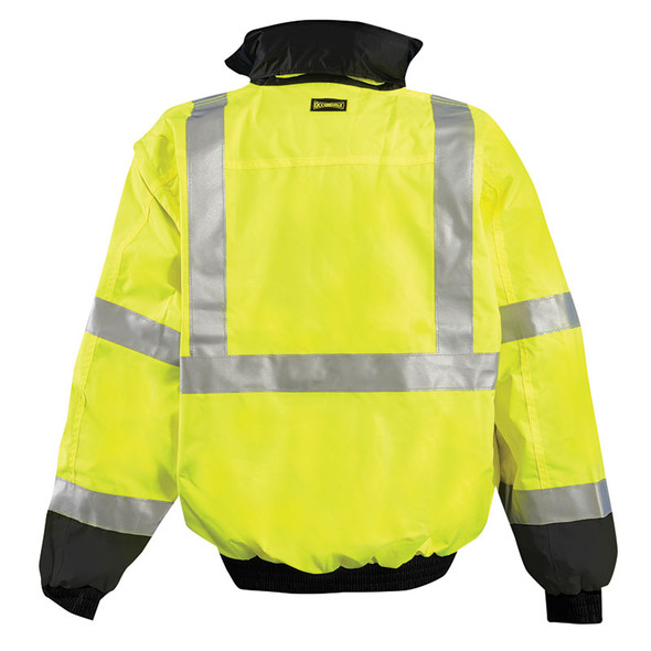 Occunomix Class 3 Hi Vis Yellow 4-in-1 Black Bottom Bomber Jacket LUX-TJBJ-B Back