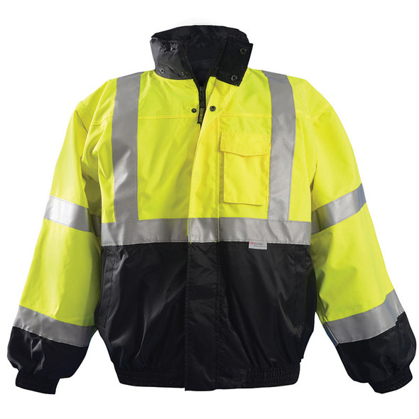 Occunomix Class 3 Hi Vis Yellow 4-in-1 Black Bottom Bomber Jacket LUX-TJBJ-B Front
