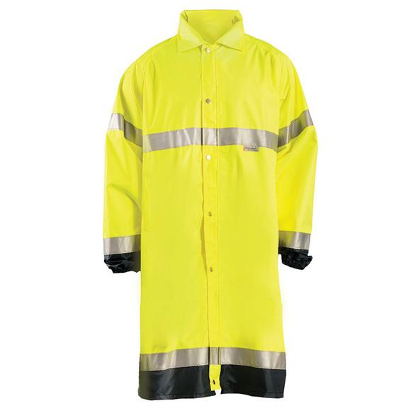 Occunomix Class 3 Hi Vis Yellow Black Bottom Trim Rain Jacket LUX-TJRE Front