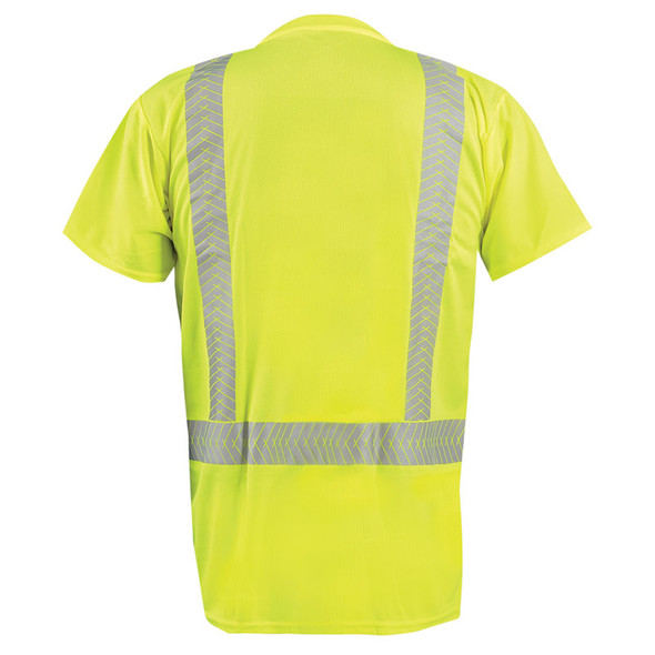 Occunomix Class 2 Hi Vis Short Sleeve T Shirt with Segmented Tape LUX-TSSP2B Yellow Back