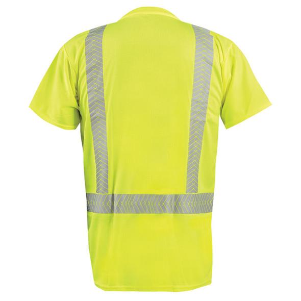 Occunomix Class 2 Hi Vis Short Sleeve T Shirt with Segmented Tape LUX-TSSP2B Yellow Back