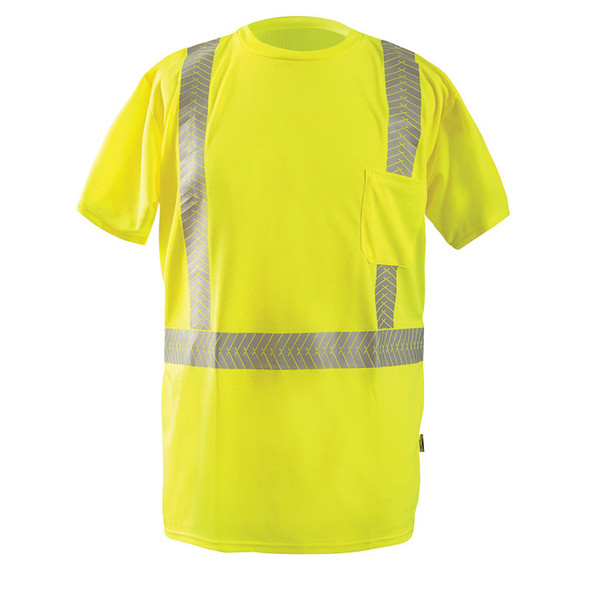 Occunomix Class 2 Hi Vis Short Sleeve T Shirt with Segmented Tape LUX-TSSP2B Yellow Front