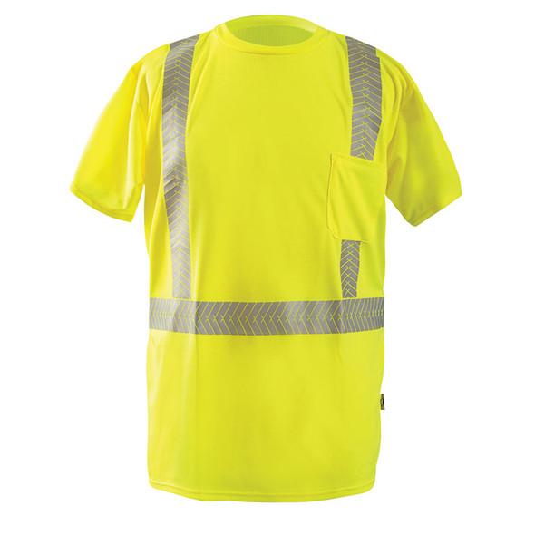 Occunomix Class 2 Hi Vis Short Sleeve T Shirt with Segmented Tape LUX-TSSP2B Yellow Front