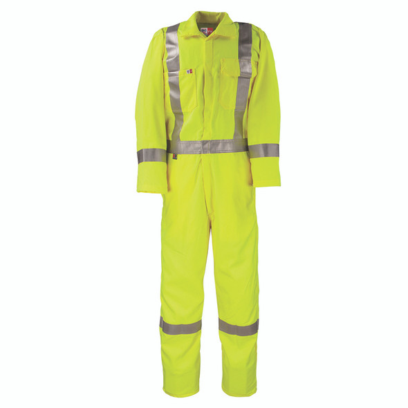 Big Bill FR Class 3 X-Back Hi Vis Yellow Tecasafe Unlined Coverall 1328TY7 Front