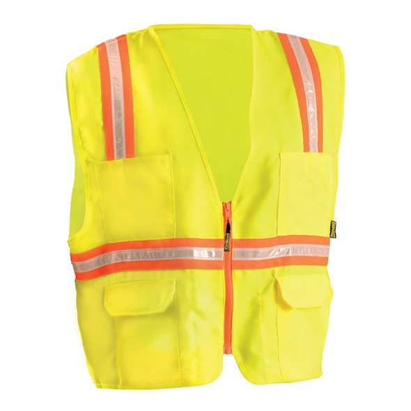 Occunomix Non-ANSI High Contrast Vest with Zipper Front LUX-XTRANS Yellow Front