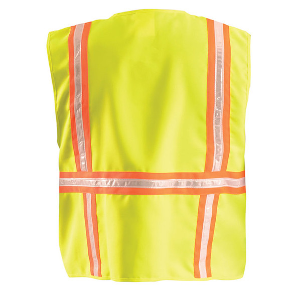 Occunomix Non-ANSI High Contrast Vest with Zipper Front LUX-XTRANS Yellow Back