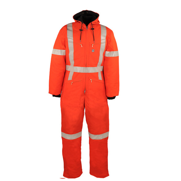 Big Bill Class 3 Hi Vis X-Back Orange Cold Weather Insulated Duck Coverall 804CRT Front