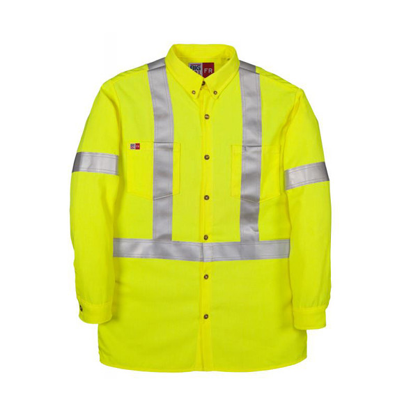 Big Bill FR Class 2 Hi Vis X-Back Dress Shirt 148BDTY7 Yellow Front
