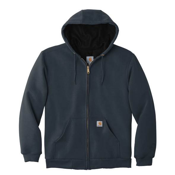 Carhartt Rain Defender Rutland Thermal Lined Zip Up Hooded Sweatshirt 100632 New Navy Front