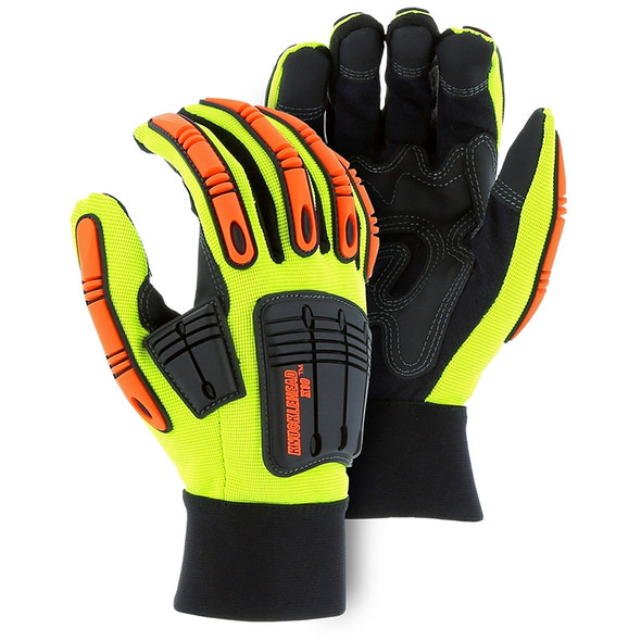 Majestic Case of 72 Pair Hi Vis Cut Level A3 Mechanics Gloves 21247-CASE Yellow