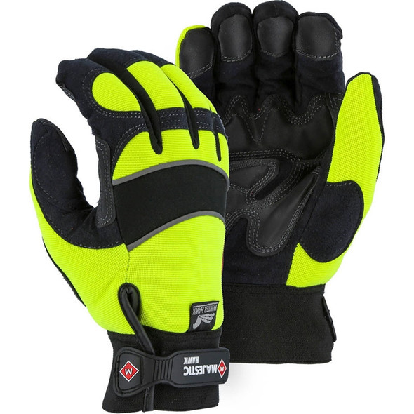 Majestic Case of 72 Pair Hi Vis Yellow Winter Gloves with Armor Skin 2145HYH-CASE