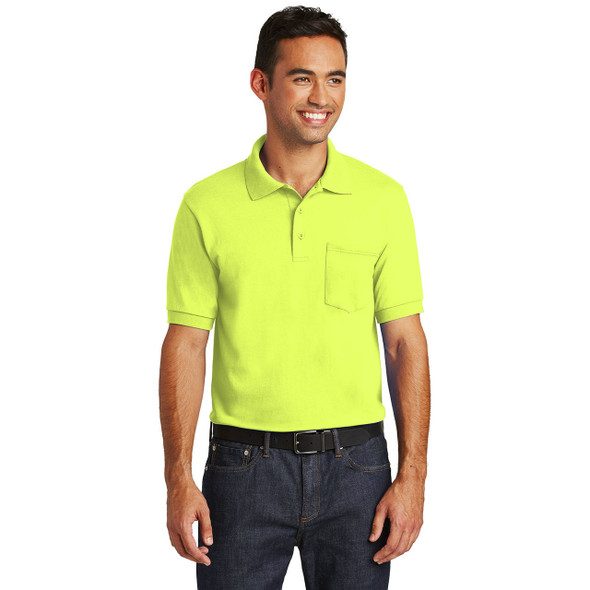 Port and Company Enhanced Visibility Polo Shirt with Pocket KP55P Safety Green Front