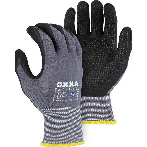 Majestic Box of 12 Pair OXXA Superior Micro Foam Nitrile Palm Gloves Dotted Grip 51-295