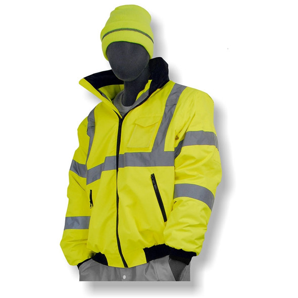 Majestic Class 3 Hi Vis Yellow Waterproof M Safe Bomber Jacket 75-1301