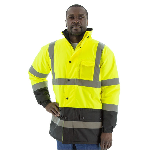 Majestic Class 3 Hi Vis Yellow Black Bottom Polar Fleece Lined Parka 75-1303