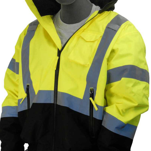 Majestic Class 3 Hi Vis Yellow Black Bottom Quilted Bomber Jacket 75-1313
