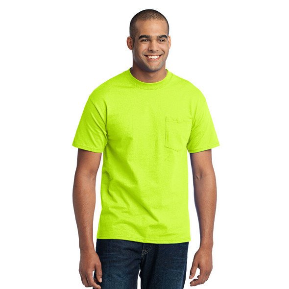 Port and Company Enhanced Visibility T-Shirt With Pocket PC55P Safety Green Front