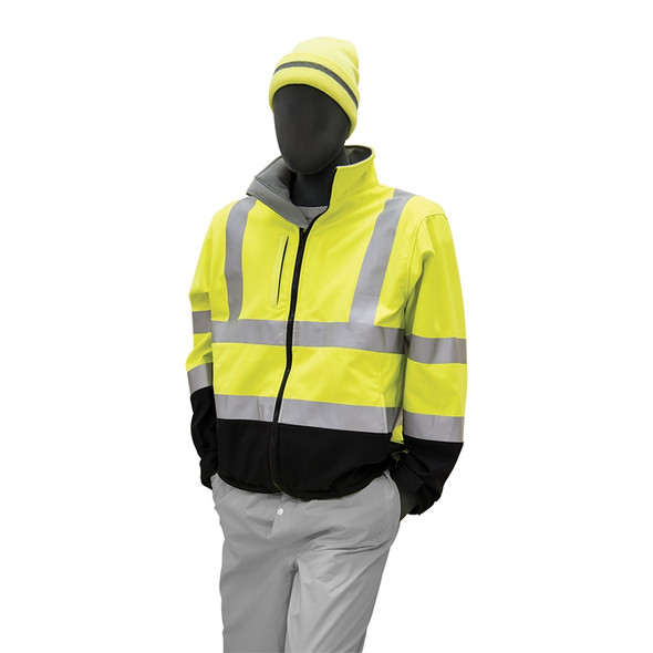 Majestic Class 3 Hi Vis Yellow Breathable Softshell Jacket Black Bottom 75-1371