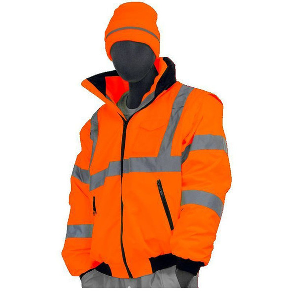 Majestic Class 3 Hi Vis Orange 8-in-1 Bomber Jacket Vest Combination Transformer 75-1382