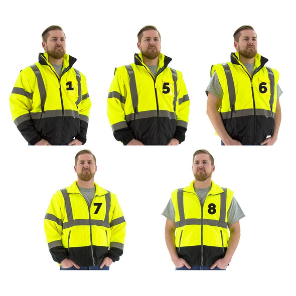 Majestic Class 3 Hi Vis Yellow Black Bottom 8-in-1 Bomber Jacket 75-1383 Convertible Styles
