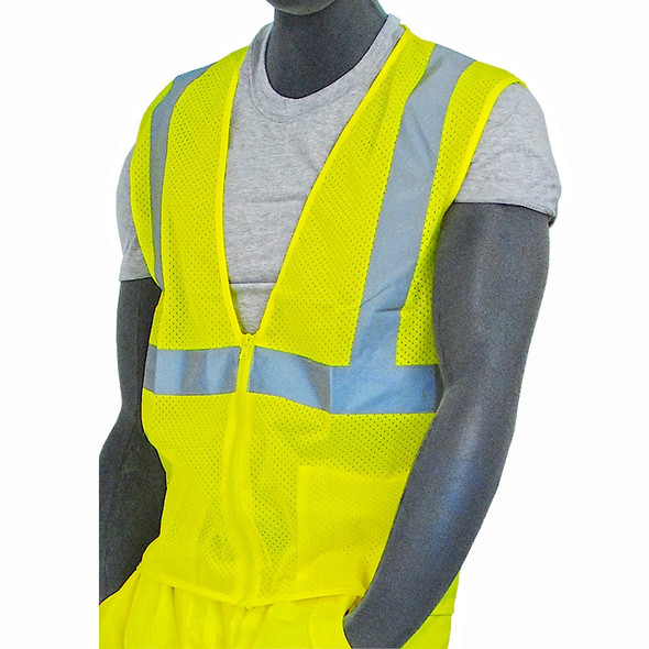 Majestic Class 2 Hi Vis Yellow Zipper Front Mesh Safety Vest 75-3201